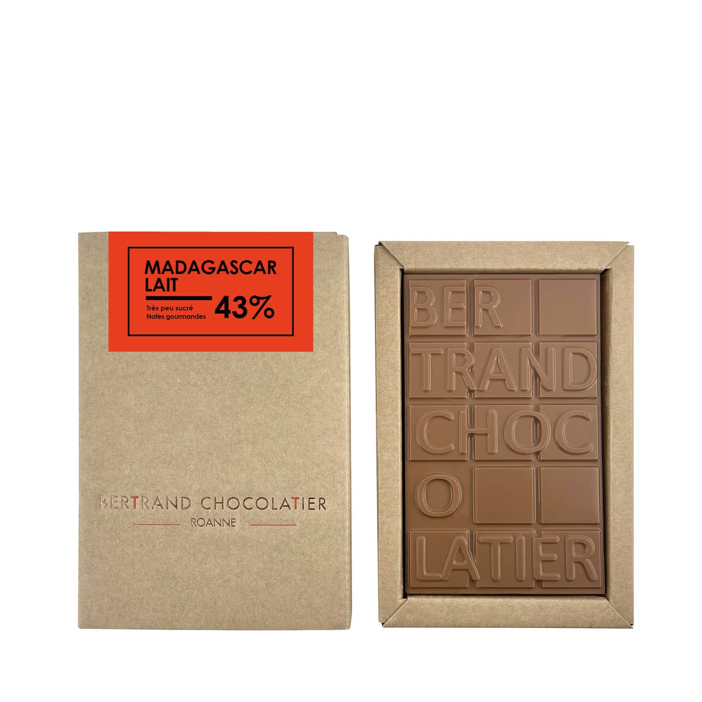 Tablette chocolat Lait 43% origine Madagascar 90g