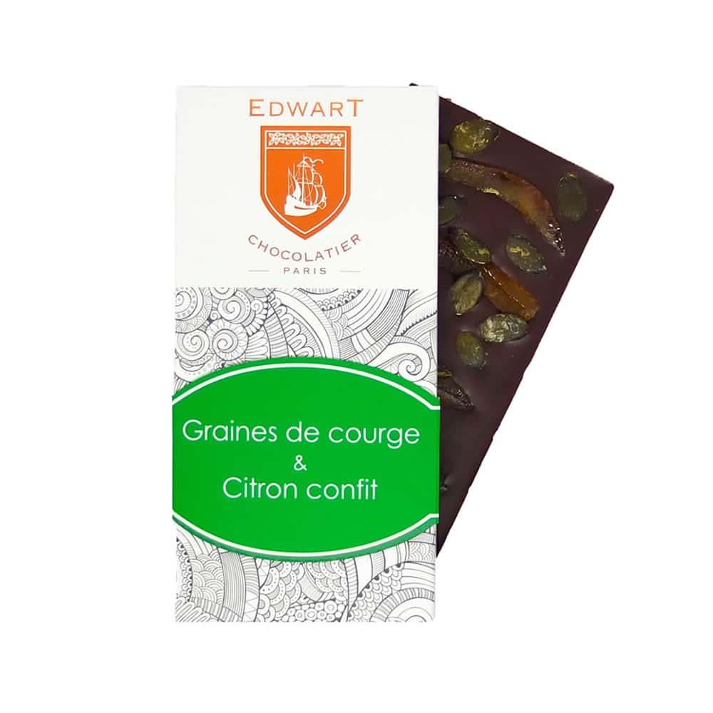 Tablette Chocolat Noir Graines de Courge Citron 70% 100g