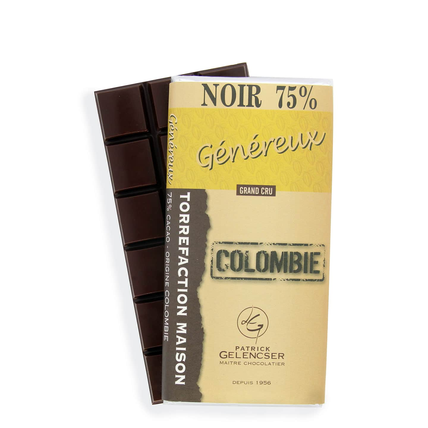 Tablette Chocolat Noir 75% Grand Cru origine Colombie 100g Généreux - Bean to Bar