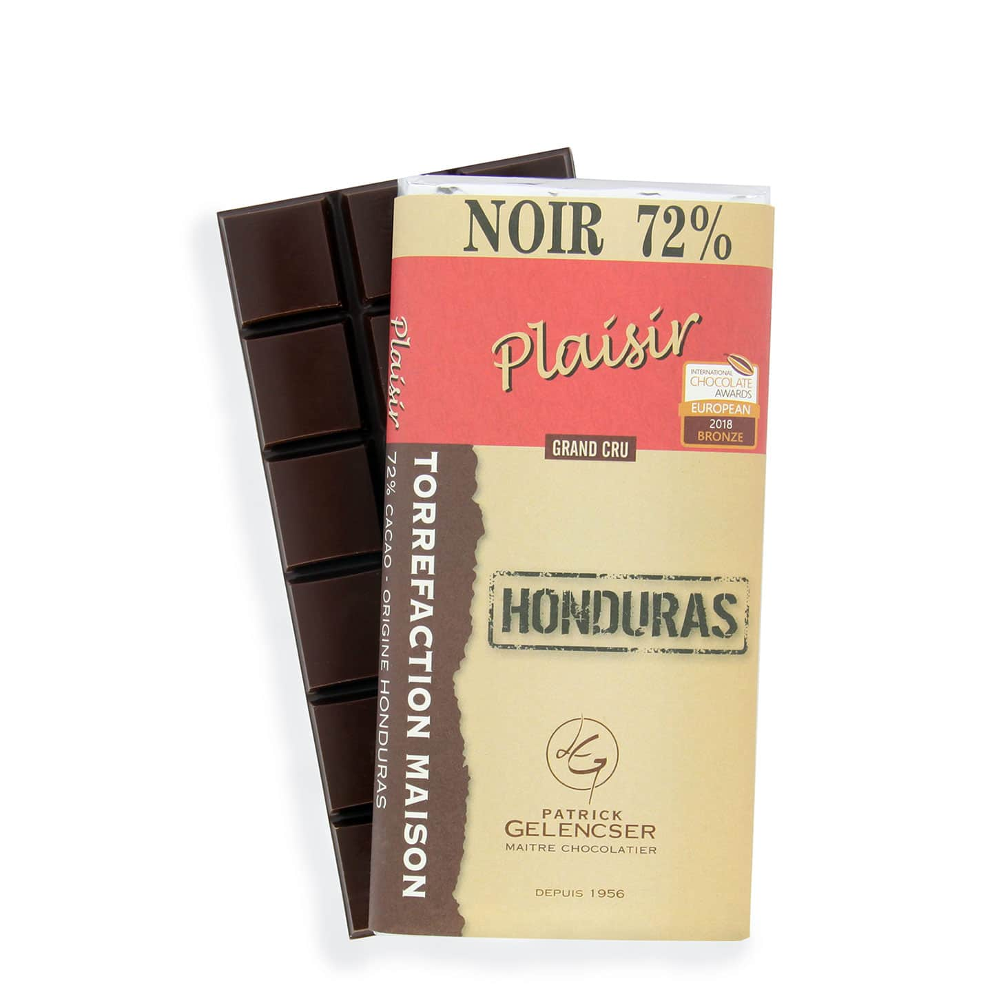 Tablette Chocolat Noir 72% Grand Cru origine Honduras 100g Plaisir - Bean to Bar