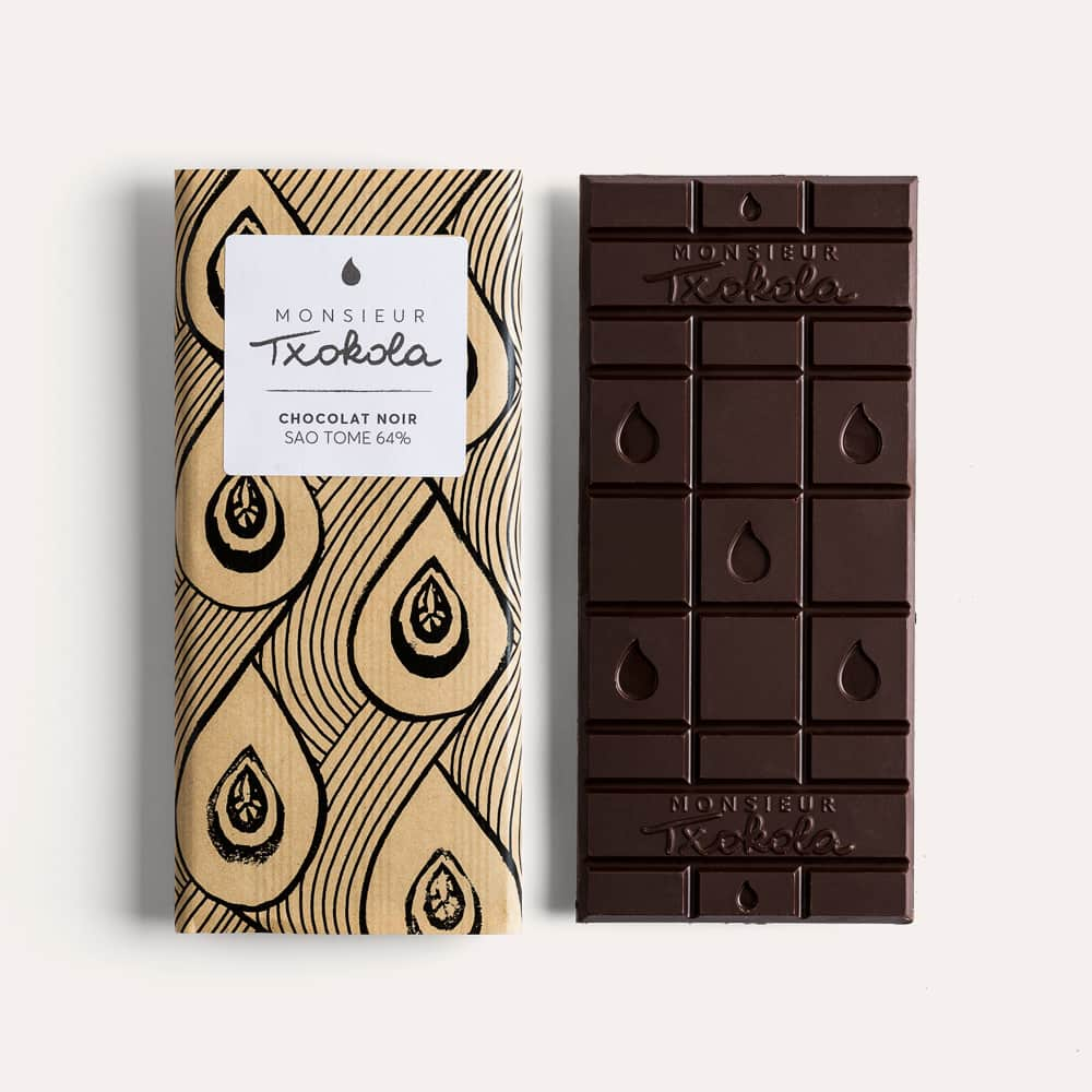 Tablette Chocolat Noir 64% Grand Cru origine Sao Tomé 95g Bean to Bar