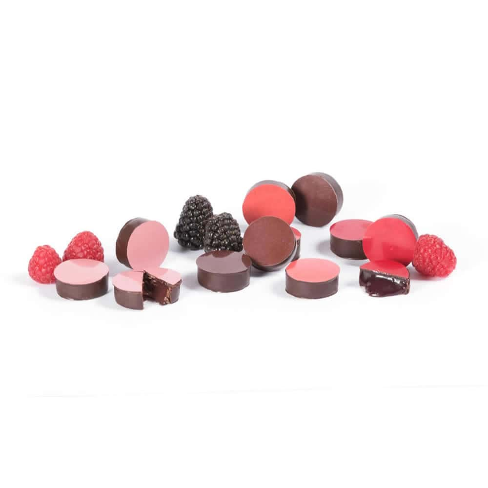 Assortiment Ganaches Fruits Rouges Chocolat Noir 130g - 16 pièces Chocofruits