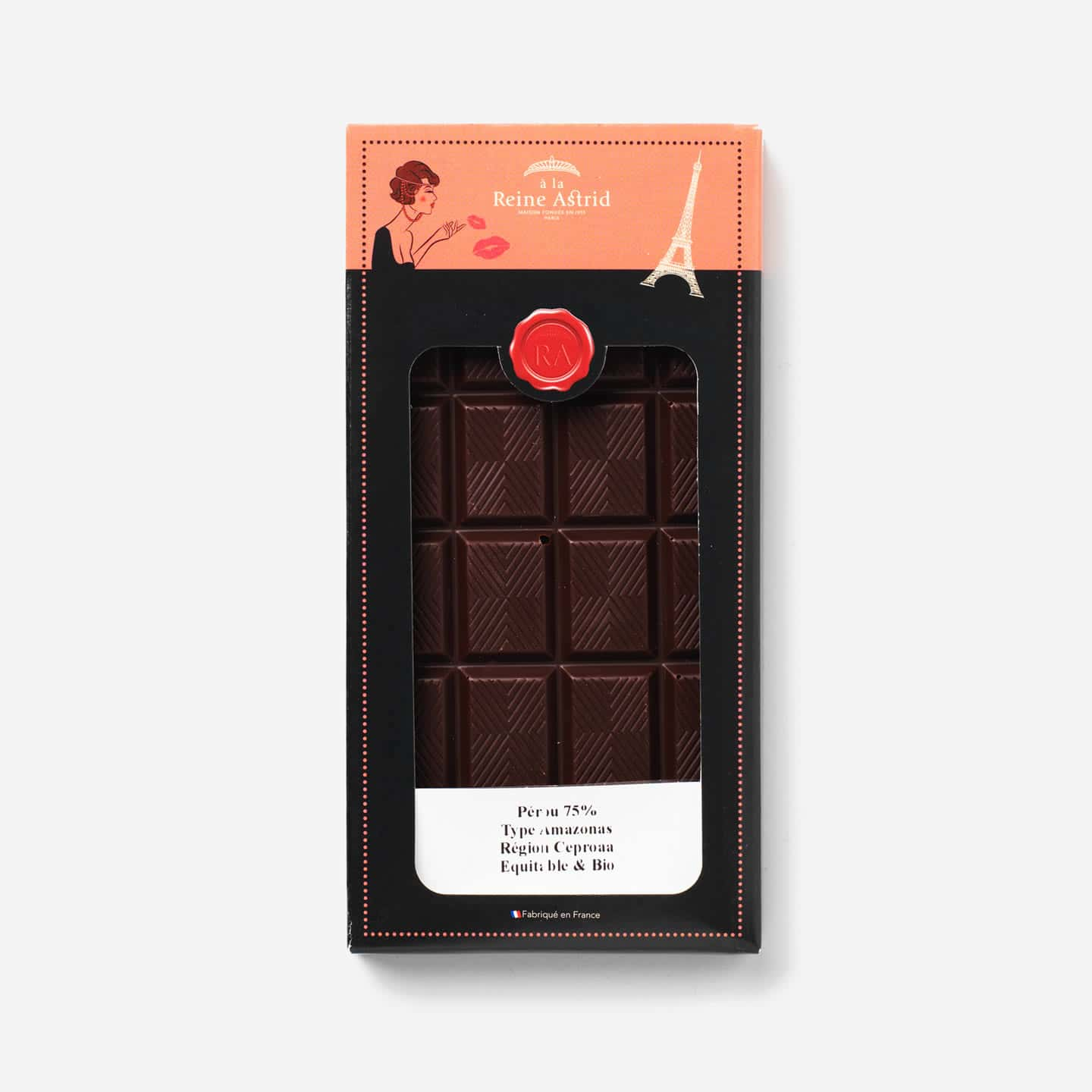 Tablette Chocolat Noir Bio 75% Grand Cru origine Pérou 75g Bean to Bar